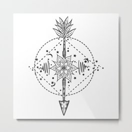 Modern tattoo flash flower with arrow. Art festival poster with star and moon Metal Print