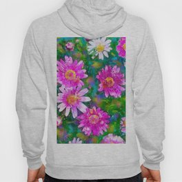 Pink Daisies Flower Party 1 by Jennifer Berdy Hoody