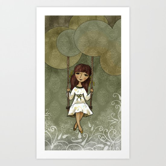 Hannah on a Swing Art Print