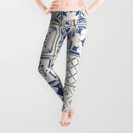 Blue Ceramic Tiles Leggings
