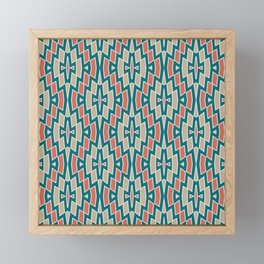 Fragmented Diamond Pattern in Teal, Coral and Tan Framed Mini Art Print