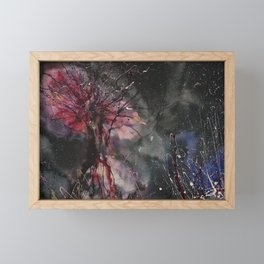 Burning tree in space Framed Mini Art Print