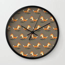 Skateboarding fox Wall Clock