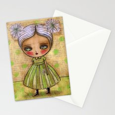 Dandelion Girl in Yellow And Green Stationery Cards