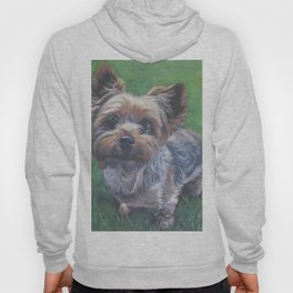A realistic Yorkshire Terrier Portrait by L.A.Shepard fine art painting Hoody