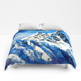 Panoramic View Of Everest Mountain Peak Comforters