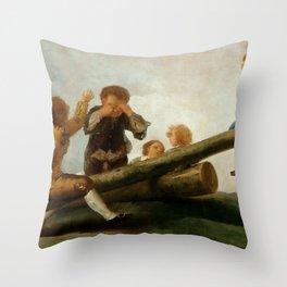 "Francisco Goya ""El Balancín (The seesaw)"" Throw Pillow"