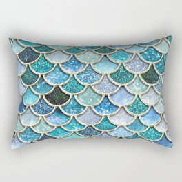 Multicolor Aqua Mermaid Scales - Beautiful Abstract Glitter Pattern Rectangular Pillow