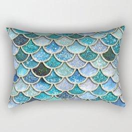 Multicolor Aqua Mermaid Scales - Beautiful Abstract Glitter Pattern Rectangular Pillow
