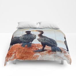 Double  Breasted Cormorants Perched in PEI Comforters