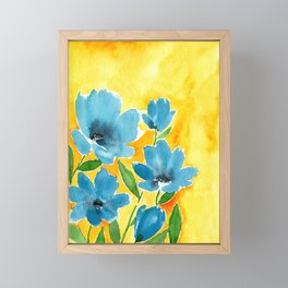 Watercolor Bue Flowers with a Yellow Background Framed Mini Art Print