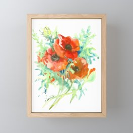Red Poppies, Red flowers, French Country Style Field Flowers Framed Mini Art Print