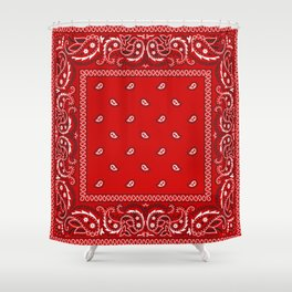 Paisley - Bandana - Red - Southwestern - Boho Shower Curtain