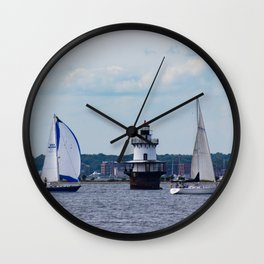 Sailing By the Lighthouse Wall Clock