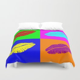 Colorful pop art lipstick kiss Duvet Cover