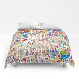 Kansas City Missouri City Map Comforters