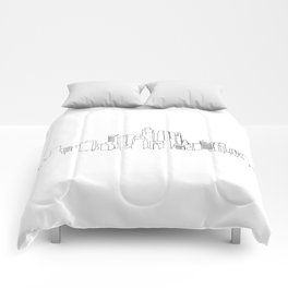 Los Angeles Skyline Drawing Comforters