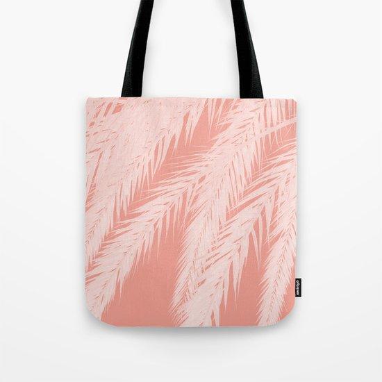 Pink Palm leaves Tote Bag