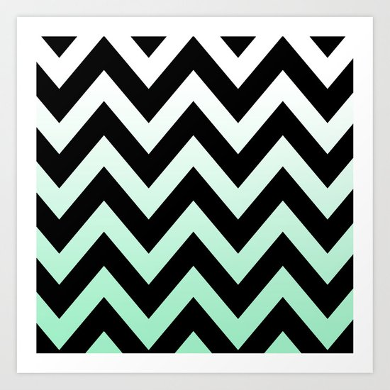 BLACK CHEVRON MINT FADE Art Print