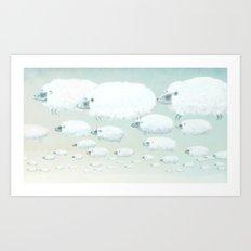 Cloudy Sheep Art Print