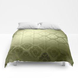 """""""Olive Damask Pattern"""" Comforters"""