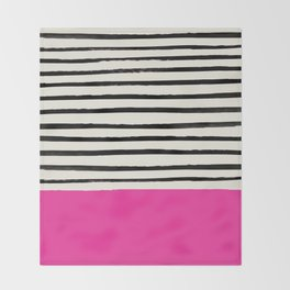 Bright Rose Pink x Stripes Throw Blanket