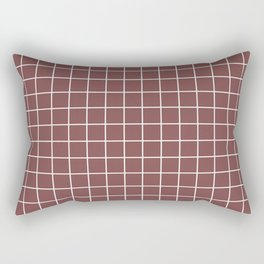 Tuscan red - violet color -  White Lines Grid Pattern Rectangular Pillow