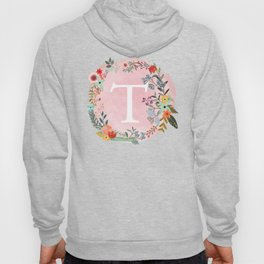 Flower Wreath with Personalized Monogram Initial Letter T on Pink Watercolor Paper Texture Artwork Hoody