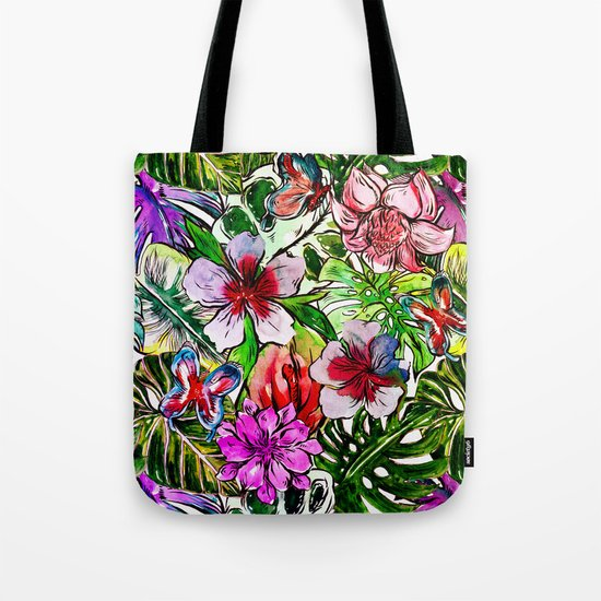 Tropical Flower Hibiscus Garden on #Society6 Tote Bag