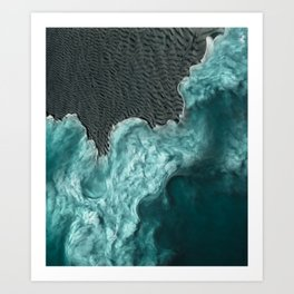 """Sea foam dancing on the blue ocean and gray sand"" Art Print"