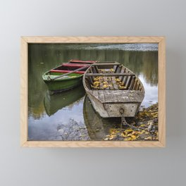 Rowboats On The Water In Autumn Framed Mini Art Print