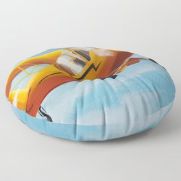 Yellow Plane, Blue Sky Floor Pillow