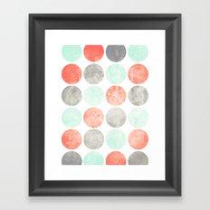 Circles (Mint, Coral & Gray) Framed Art Print