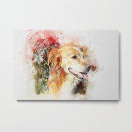 Dog sitting animal art abstract Metal Print