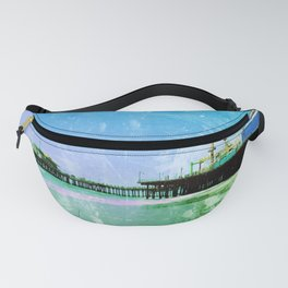 Blue and green Santa Monica Pier Fanny Pack