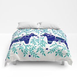 Swedish Dala Horses – Navy & Blue Palette Comforters