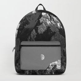Moon Over Pioneer Peak B&W Backpack