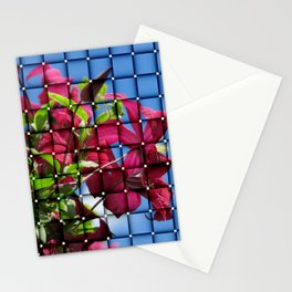 art of purple clematis blossom on blue sky Stationery Cards