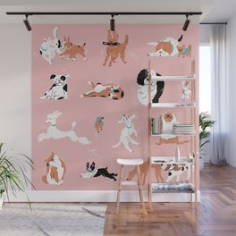 Dogs, Dogs, Dogs Pink Wall Mural