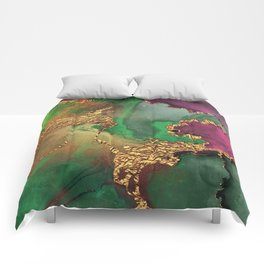 Trendy Glitter Gold, Green, and Pink Paint Texture Comforters
