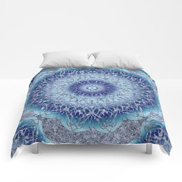 Frosted Lotus Mandala Blue Comforters