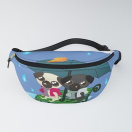 Adorable Pug Buddies. Pugs under Umbrella Fanny Pack