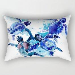 Sea Turtles, Marine Blue underwater Scene artwork Rectangular Pillow