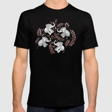 Laughing Baby Elephants - Coral Black Mens Fitted Tee 2X-LARGE