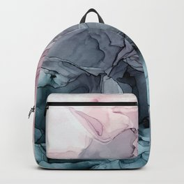 Blush and Payne's Grey Flowing Abstract Painting Backpack