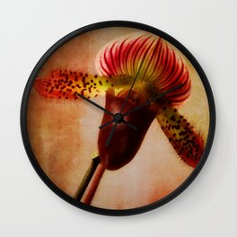 Ruby Lady Slipper Orchid Wall Clock