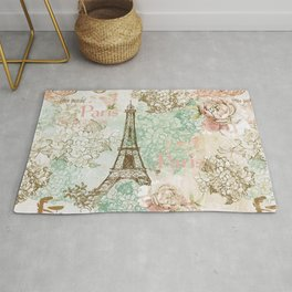 I love Paris - Vintage Shabby Chic - Eiffeltower France Flowers Floral Rug