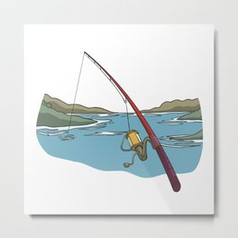 Lonely fishing rod on the lake Metal Print