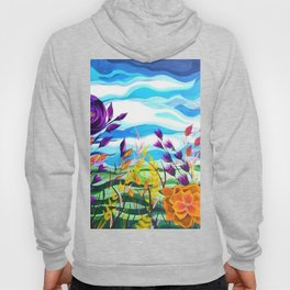 Summer Spectacular, Abstract Floral Landscape, Bright Wild Flowers Hoody