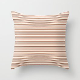 Warm Terracotta Brown Horizontal Stripe Patterns 2 on Creamy Off White Sherwin Williams Cavern Clay  Throw Pillow